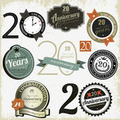 20 years anniversary signs and cards vector design — Vettoriale Stock