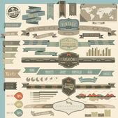 Estilo vintage retro web encabezados y elementos de navegación — Vector de stock