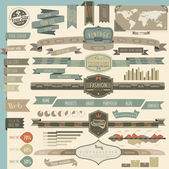 Retro vintage style website headers and navigation elements — 图库矢量图片