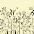 Hand drawing flowers and herbs — Image vectorielle