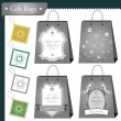 Christmas gift bags and shopping package set — Imagen vectorial