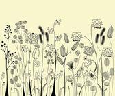 Dessin de fleurs et herbes à la main — Vecteur