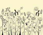Hand drawing flowers and herbs — Cтоковый вектор