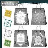 Christmas gift bags and shopping package set — Vecteur