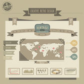 Retro vintage style website — Vector de stock