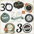 Vecteur: 30 years anniversary signs and cards vector design