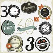30 ans anniversaire signe et cartes vectorielles conception — Vecteur