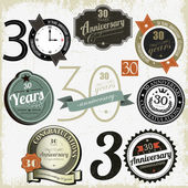 30 years anniversary signs and cards vector design — Cтоковый вектор