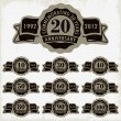 Anniversary signs and cards vector design - Vettoriali Stock 