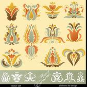 Floral Decoration Elements — Stock Vector