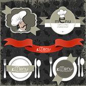 レストラン メニュー デザイン要素 — ストックベクタ
