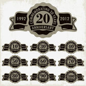 Anniversary signs and cards vector design — Vector de stock