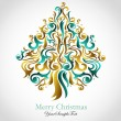 Illustrated Christmas tree — Imagen vectorial