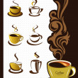 Coffee cup elements and collection for design — Imagens vectoriais em stock