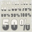 Complete set of percent with creative number design — Stockvektor