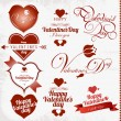 Collection of Valentine's Day stamp - Stock Vector