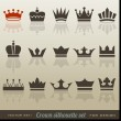 Stockvektor : Crown collection and silhouette set