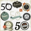 50 years anniversary signs and cards vector design — Stok Vektör #14005441