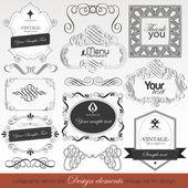 Vector set calligraphic design elements — Stock Vector