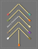 Creative Christmas tree with matches elements — Stock Vector