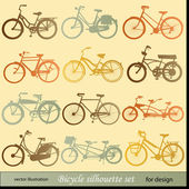 Vector bicycle silhouette set — Stock Vector