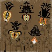 традиционные цветы и травы фон — Cтоковый вектор