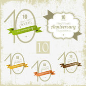 10 years Anniversary signs and cards vector design — Stok Vektör