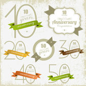Anniversary signs and cards illulstration design Jubilee design — Stock vektor