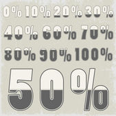 Complete set of percent with creative number design — Stockvector