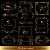 элементы каллиграфии дизайна для дизайна — Cтоковый вектор