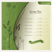 Disegno di sfondo e menu di tè verde — Vettoriale Stock