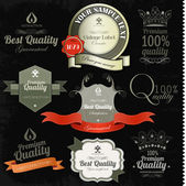 Gold Premium Quality Labels — Stock Vector