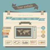 винтажный стиль веб-сайт шаблоны — Cтоковый вектор