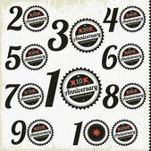 Výročí značky a karty vektorový design — Stock vektor