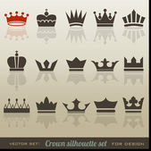 Crown collection and silhouette set — Vector de stock
