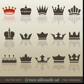 Set de colección y silueta de corona — Vector de stock