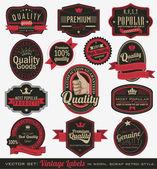 Vintage premium kalite etiketleri — Stok Vektör