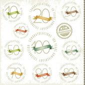 Carte di anniversario e giubileo stile vintage — Vettoriale Stock