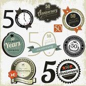 50 anni anniversario segni e schede di disegno vettoriale — Vettoriale Stock