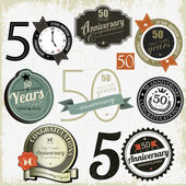 50 years anniversary signs and cards vector design — Vettoriale Stock
