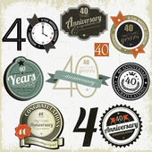 Coleção de desenhos de sinais de aniversário de 40 anos — Vetorial Stock