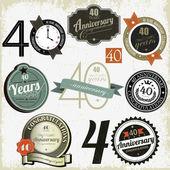 Insieme di segni-disegni anniversario 40 anni — Vettoriale Stock
