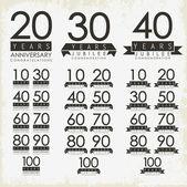 Tarjetas de aniversario y jubileo de estilo vintage — Vector de stock