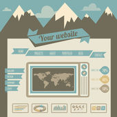Vintage retro website template — Stock Vector