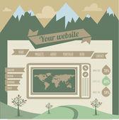 テンプレートのレトロなヴィンテージのウェブサイト — ストックベクタ