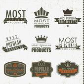 En popüler işaretleri ve etiketler — Stok Vektör