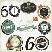 60 ans anniversaire signes-dessins — Vecteur