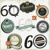 60 yıl yıldönümü işaretleri-tasarımlar — Stok Vektör
