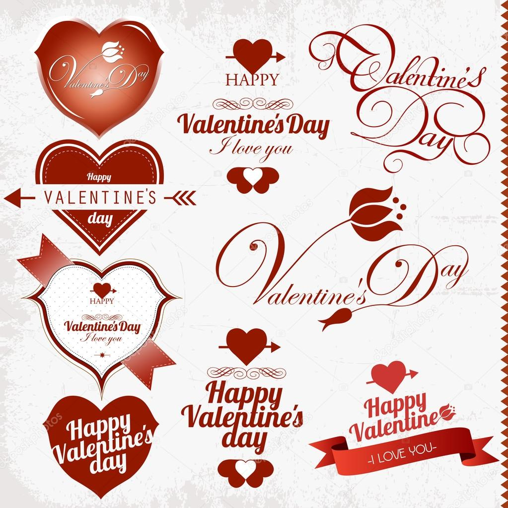Collection of Valentine's Day stamp — Stock Vector #14004933