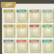 Vintage year 2013 calendar - Stock Vector